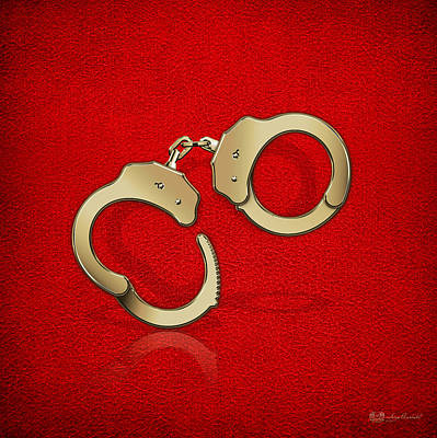 Police Art Digital Art - Gold Handcuffs On Red Leather Background by Serge Averbukh