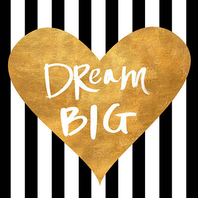 Dream Big Digital Art - Gold Heart On Stripes I by South Social Graphics