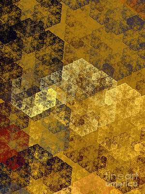 Digital Art - Gold Hexagon Fractal Art 1 Of 3 by Andee Design