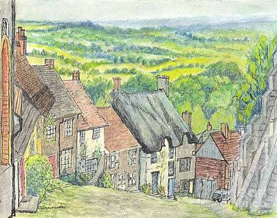 Gold Hill Shaftesbury Dorset England Art Print by Carol Wisniewski