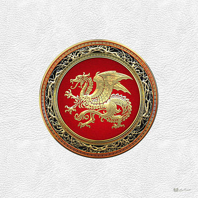 Digital Art - Gold Icelandic Dragon On White Leather by Serge Averbukh