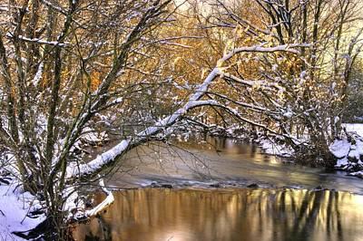 Gold In The Creek B1 - Owens Creek Near Loys Station Covered Bridge - Winter Frederick County Md Art Print by Michael Mazaika