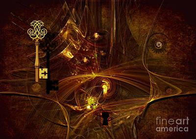Digital Art - Gold Key Of Secret by Alexa Szlavics