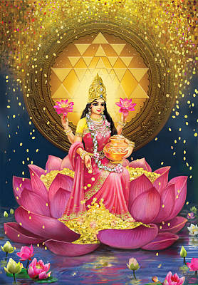 Painting - Gold Lakshmi by Lila Shravani