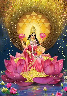 Sri Yantra Painting - Gold Lakshmi by Lila Shravani