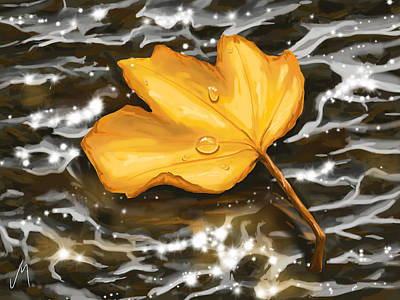 Raining Painting - Gold Leaf by Veronica Minozzi