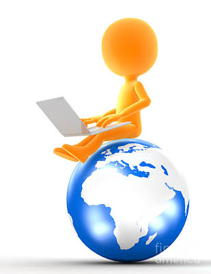 Global Digital Art - Gold Man Sitting On The Globe With Laptop by Michal Bednarek