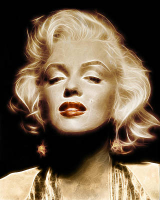 Girl Digital Art - Gold Marilyn Monroe by - BaluX -