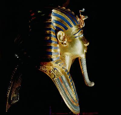 Gold Mask Of Tutankhamun, From The Tomb Of Tutankhamun, C.1370-1352 Bc New Kingdom Gold Inlaid Art Print by Egyptian 18th Dynasty