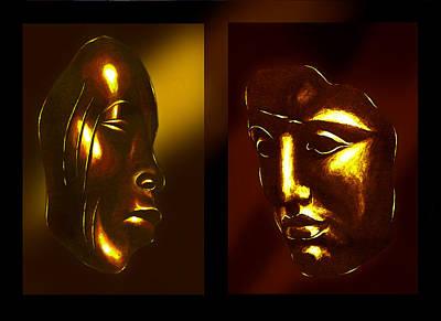 Gold Masks Art Print by Hartmut Jager
