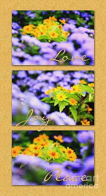 Gold Medallion Flowers With Love Joy Peace Art Print