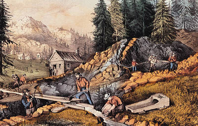 Gold Mining In California Art Print by Currier and Ives