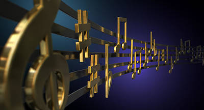 Animal Surreal - Gold Music Notes On Wavy Lines by Allan Swart