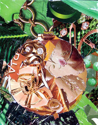 Torn Paper Painting - Gold Ornament by Suzy Pal Powell