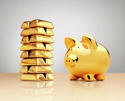 Piggy Bank Wall Art - Photograph - Gold Piggy Bank Beside A Stack Of Ingots by Anthony Bradshaw