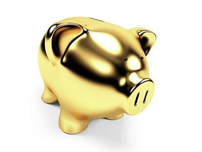 Gold Piggy Bank Art Print by Sebastian Kaulitzki