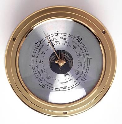 Barometer Photograph - Gold-rimmed Barometer by Dorling Kindersley/uig