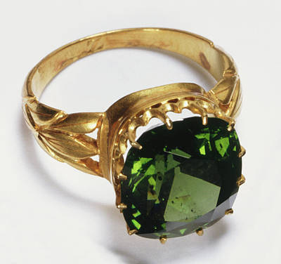 Leaf Ring Photograph - Gold Ring With Inset Green Zircon Stone by Dorling Kindersley/uig