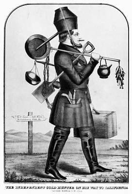 Teapot Painting - Gold Rush Cartoon, C1850 by Granger