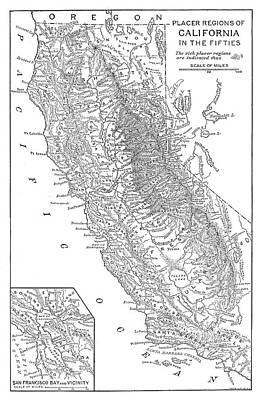 1850s Painting - Gold Rush Map by Granger