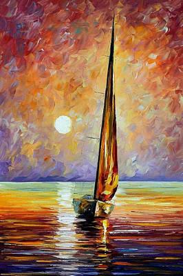 Gold Sail - Palette Knife Oil Painting On Canvas By Leonid Afremov Original by Leonid Afremov