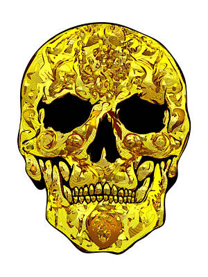 Gold Skull Art Print by Mauro Celotti
