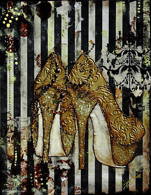 Gold Sequined Shoes With Black And Ivory Striped Background Art Print by Janelle Nichol