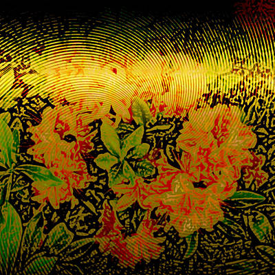Metallic Sheets Digital Art - Gold Sheet Floral 1 by Patricia Keith