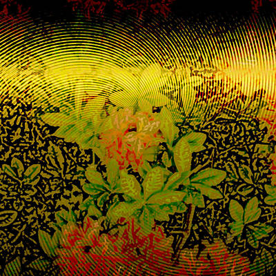 Metallic Sheets Digital Art - Gold Sheet Floral 2 by Patricia Keith