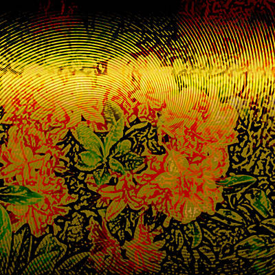 Metallic Sheets Digital Art - Gold Sheet Floral 3 by Patricia Keith