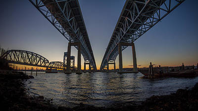 Photograph - Gold Star Bridge Simple Sunset  by Kirkodd Photography Of New England