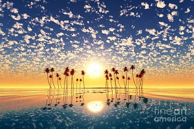 Animal Paintings David Stribbling - Gold Sunset Above Tropic Island by Aleksey Tugolukov