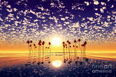 Animal Paintings David Stribbling - Gold Sunset Above Tropic Island Purple by Aleksey Tugolukov