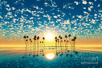 Coconuts Digital Art - Gold Sunset Above Tropic Island Turquoise by Aleksey Tugolukov