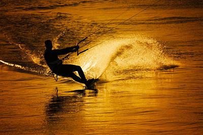 Surfer Photograph - Gold Surfer by Pedro Correa