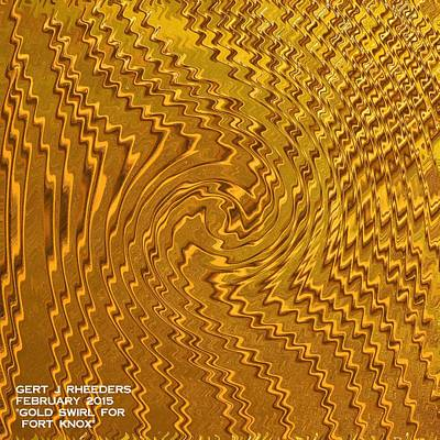 Abstract Shapes Janice Austin - Gold Swirl For Fort Knox H a by Gert J Rheeders