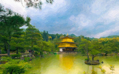 Statue Portrait Painting - Gold Temple Japan by Lanjee Chee