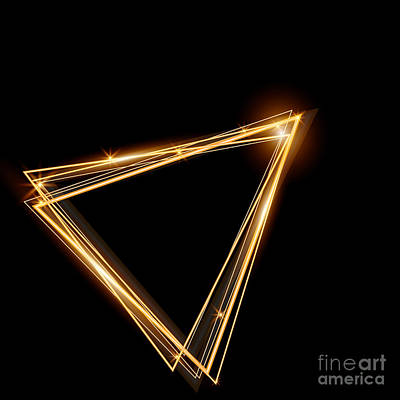 3d Digital Art - Gold Triangle Glowing Frame. Abstract by Ttp999