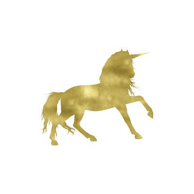 Unicorn Painting - Gold Unicorn Square by Tara Moss