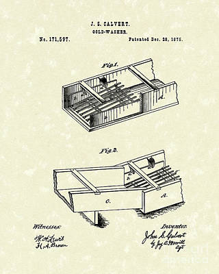 Drawing - Gold-washer 1876 Patent Art by Prior Art Design