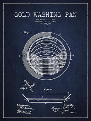 Gold Pan Digital Art - Gold Washing Pan Patent Drawing From 1897 by Aged Pixel