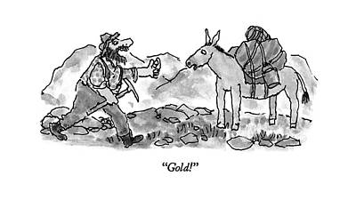 Native Drawing - Gold! by William Steig