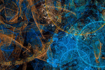 Digital Art - Golden And Blue Abstract Art by Matthias Hauser