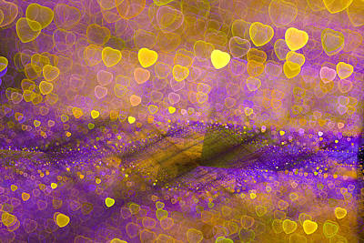 Golden And Purple Abstract Design With Hearts Art Print by Matthias Hauser