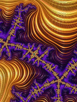 Digital Art - Golden And Purple Fractal River And Mountain Landscape by Matthias Hauser