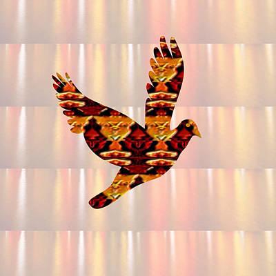 Soaring Mixed Media - Golden Angel Bird Pet  Guide Signature Art  Navinjoshi Artist Created Images Textures Patterns Backg by Navin Joshi