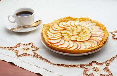 Photograph - Golden Apple Tart And Coffee Cup by Alain De Maximy