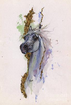 Arabian Horses Mixed Media - Golden Arabian 2014 10 22 by Angel  Tarantella