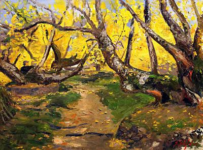 Kosovo Painting - Golden Autumn - Drenova by Sefedin Stafa