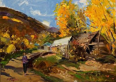 Painting - Golden Autumn In Vithkuq Korce by Sefedin Stafa